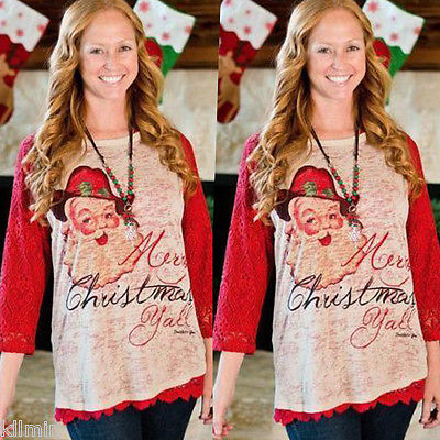 Xmas Merry Christmas Yall Burnout Santa Red Lace Long Sleeves Cotton Shirt Top ...