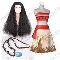 Film Moana Cosplay Kostüm Cadılar Bayramı kıyafet Seksi moana Polinezyası Prenses yetişkin Kadın Ve Çocuk Parti Elbise + Kolye + Peruk 3 adet
