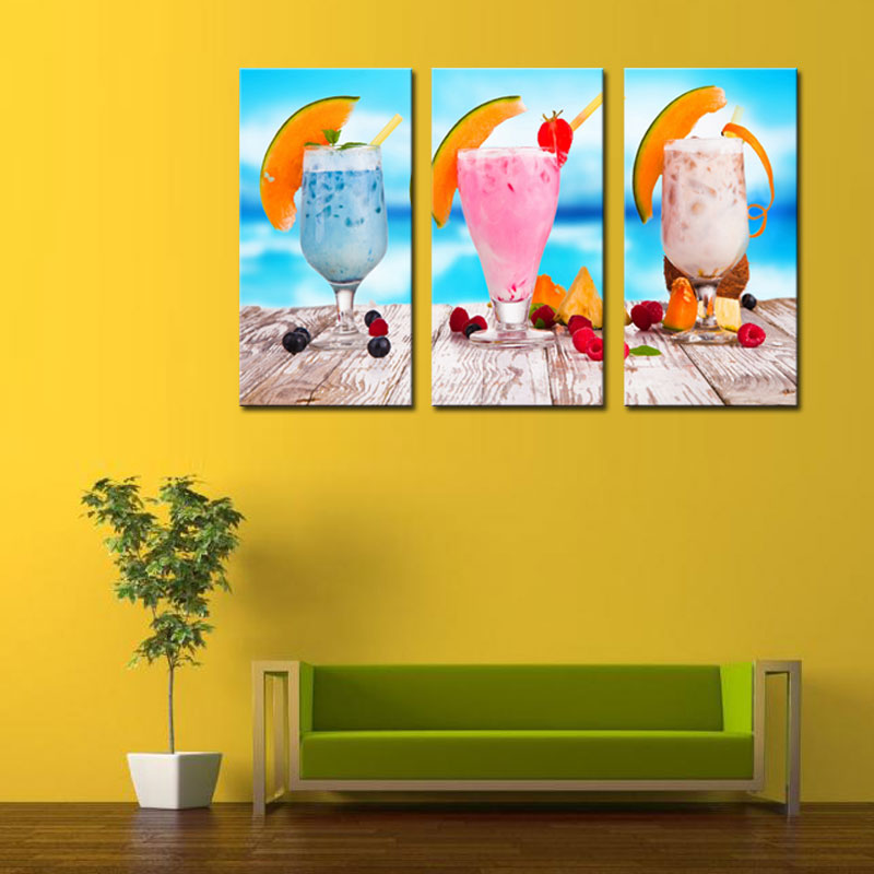 3 Picture Combination Ice Cream With Fruit Wall Art Painting ...