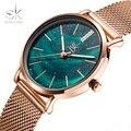 Женские часы Shengke Fantasy Starry Sky  ультратонкие кварцевые часы из нержавеющей стали с зеленым циферблатом  наручные часы