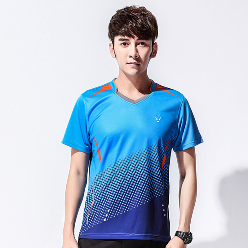 New Mens badminton clothing summer quick dry ping-pong tennis sport Short Sleeve shirt Free shipping