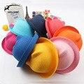 2015 Nuevo Estilo Niños Del Sombrero de Paja de Verano Floppy Catton Oído Encantadora Sombrero para el sol Playa Femenino Sólido Floppy Panamá para Niño y Niña