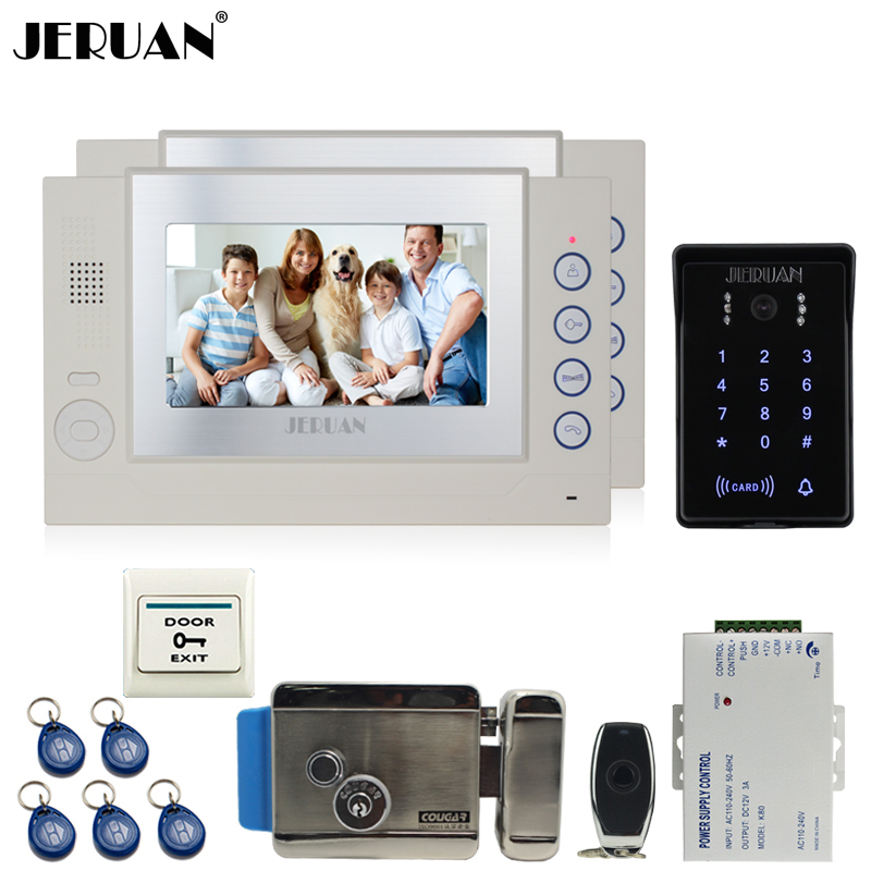 JERUAN 7`` video door phone Record intercom system Kit 2 monitor New waterproof Touch Key password keypad Camera 8G SD Card Free jeruan 7 lcd video door phone record intercom system 3 monitor new rfid waterproof touch key password keypad camera 8g sd card