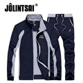 Jolintsai Men Sportswear Hoodies Jogger Set Sweat Suits Man Tracksuits Patchwork Stand Collar Polo Sweatshirts Set Oversize