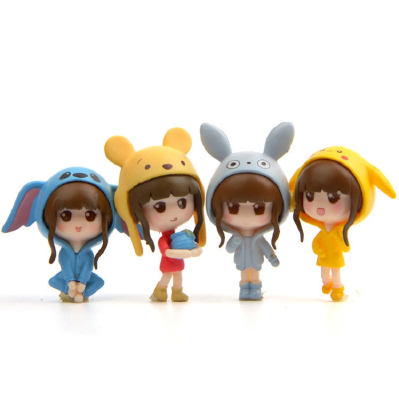 Audacious 4pcs/lot Beautiful Girl Cosplay Totoro Stitch Winnie Pikachu Pvc Action Figure Toys Doll Collection Model Toys For Children Gift Toys & Hobbies
