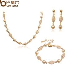 Luxury Pearl Wedding Jewelry Sets For Women Rose Gold Plated Zircon Crystal Necklace + Bracelet + Earrings Bamoer Jewelry