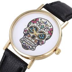 2018 креативные женские модные часы с изображением черепа кожаные кварцевые аналоговые женские повседневные часы уникальные женские часы