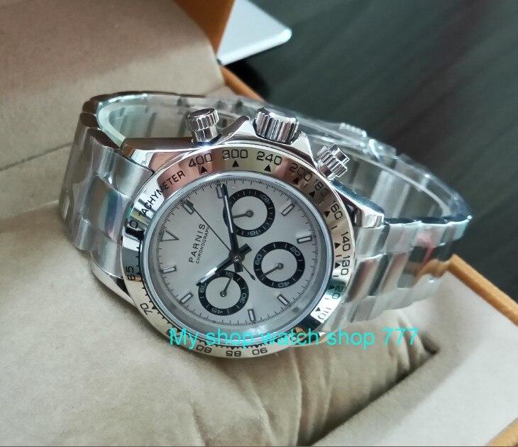 Saphir Cristal 39mm PARNIS Japonais mouvement à quartz hommes de montre Multi-fonction quartz montres 5Bar pa25 - 2