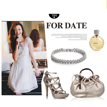 Women Silver Rose Gold Bracelet for Female Crystal Heart Charm Bracelet Women Bridal Wedding Fine Jewelry Gift 3