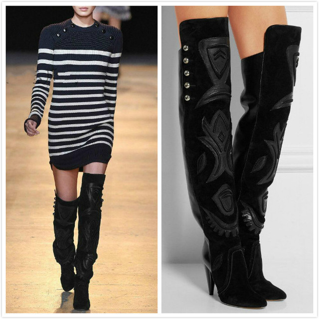 9c518b83c37 2016 high quality handmade black suede Rivet ladies long boots Mosaic spike  heel high heel pointed toe woman over the knee boots