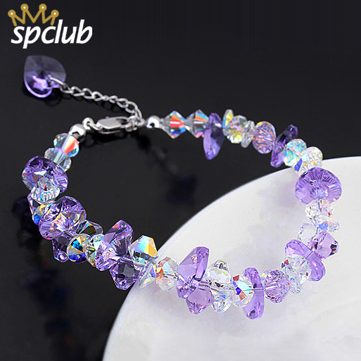 цены Fashion Crystals from Swarovski Bracelet & Bangle Colorful Gems Pulseras Mujer Charm Bracelet For Women Bridal Wedding Jewelry