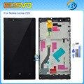 De alta qualidade em tela cheia para nokia lumia 720 n720 display lcd com touch screen digitador com frame assembléia negro cor + ferramentas