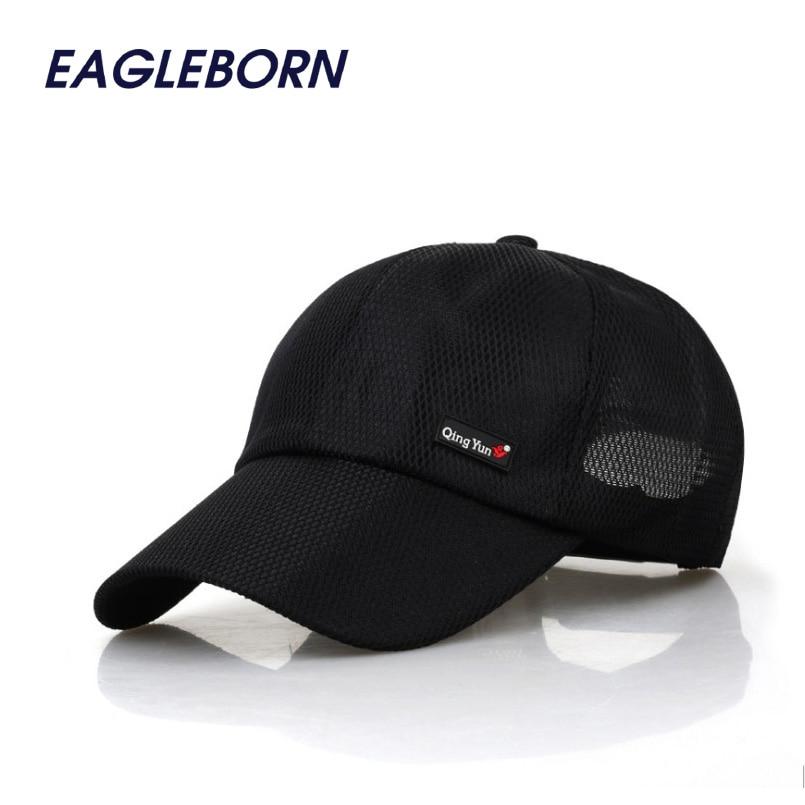 78ca63b355d EAGLEBORN Men Women 2019 Summer Snapback Mesh Baseball Cap Sun Hat 6 panels  Girl Bone Breathable