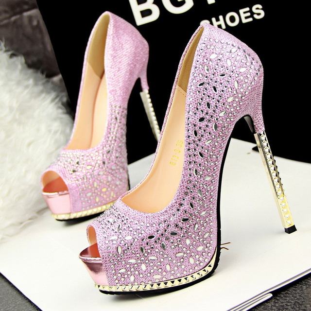 daa3ac463dbb Glitter rhinestone diamond pink silver wedding shoes sexy high heels  platform open toe 6 colors size 34 to 39