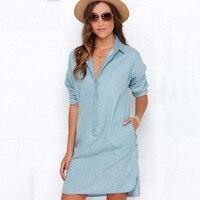 Jean Dress Women Long Sleeve Deep Vneck Loose Casual Long Sleeve Shirt Dress Women Washed Denim