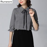 Spring Plaid Shirts Lace Up Turn Down Collar Flare Half Sleeves Womens S Tops Spring Autumn