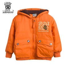 XIAOYOUYU Size 100-120 cm Little Kids Winter Outerwear Solid Color Letter Printed Children Hooded Jackets Boys Fashion Coats