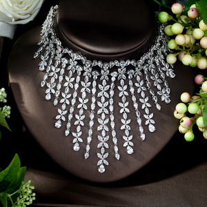 Image 2 - HIBRIDE Charm AAA Cubic Zirconia Fashion Jewelry Sets for Women Bridal Wedding Sets 2 Pcs Ring Necklace Set Women Gift N 1028
