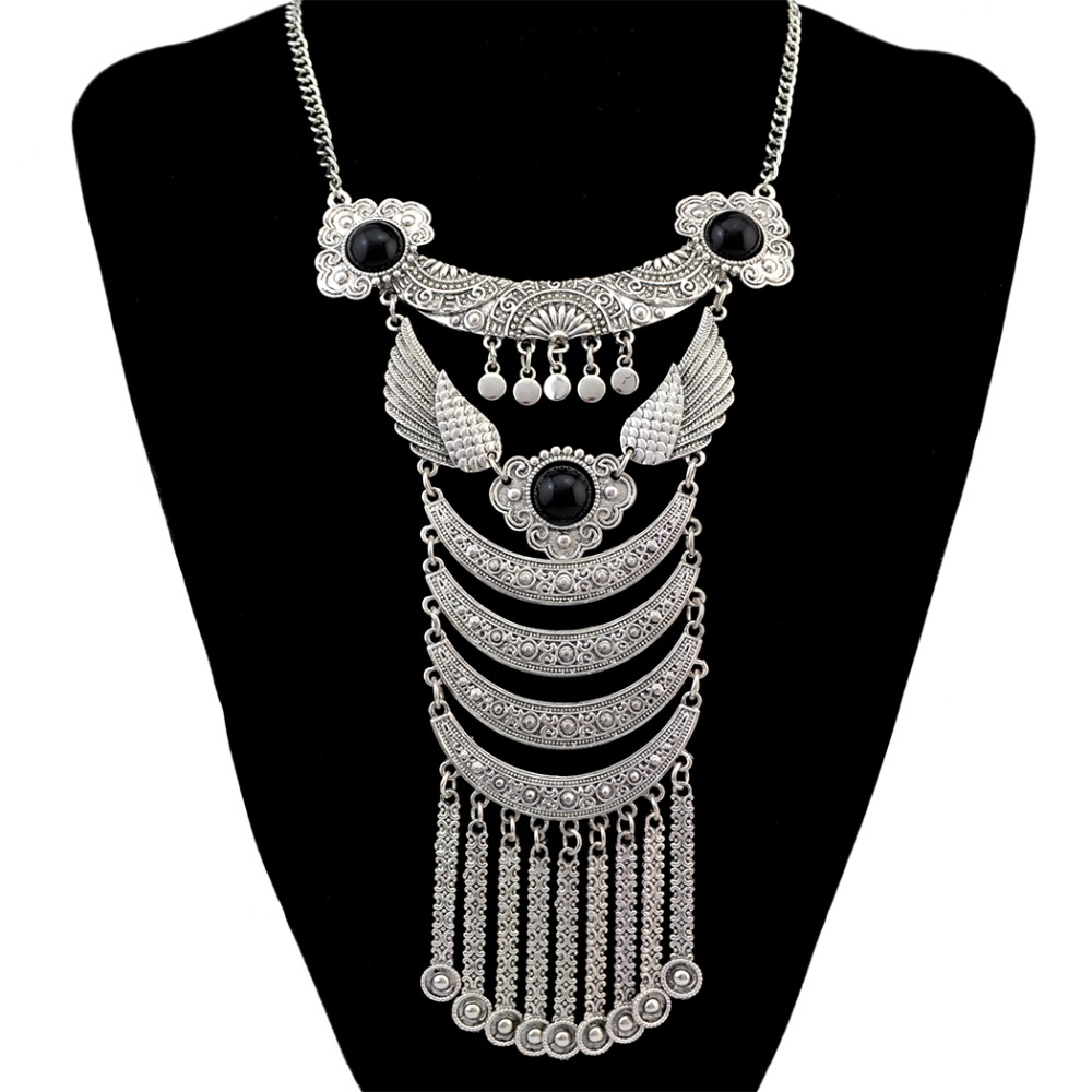 7ee935502cea 2x bohème rouge noir marqueterie de pierre choker boho ethnique argent  plaqué long gland collier pour femmes bijoux bijoux