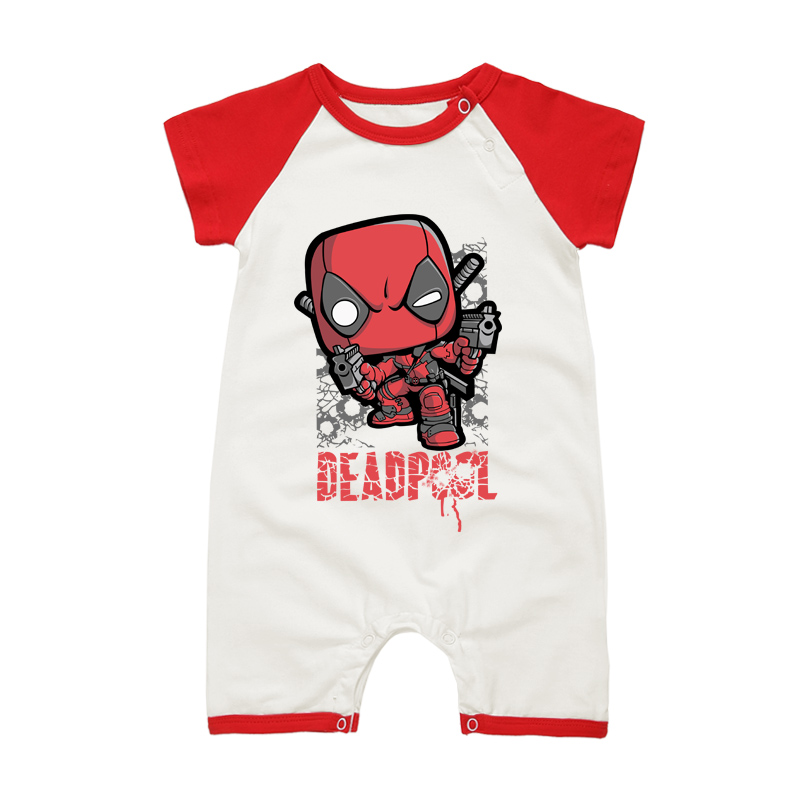 2017 Babies Deadpool Printed Costumes Newborn Baby One-Piece Rompers Baby Boys Girls Clothing Summer Infant Jumpsuits