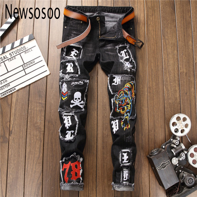 European American Style Men's jeans slim denim trousers Straight famous brand mens black Patchwork zipper Embroidery jeans pants
