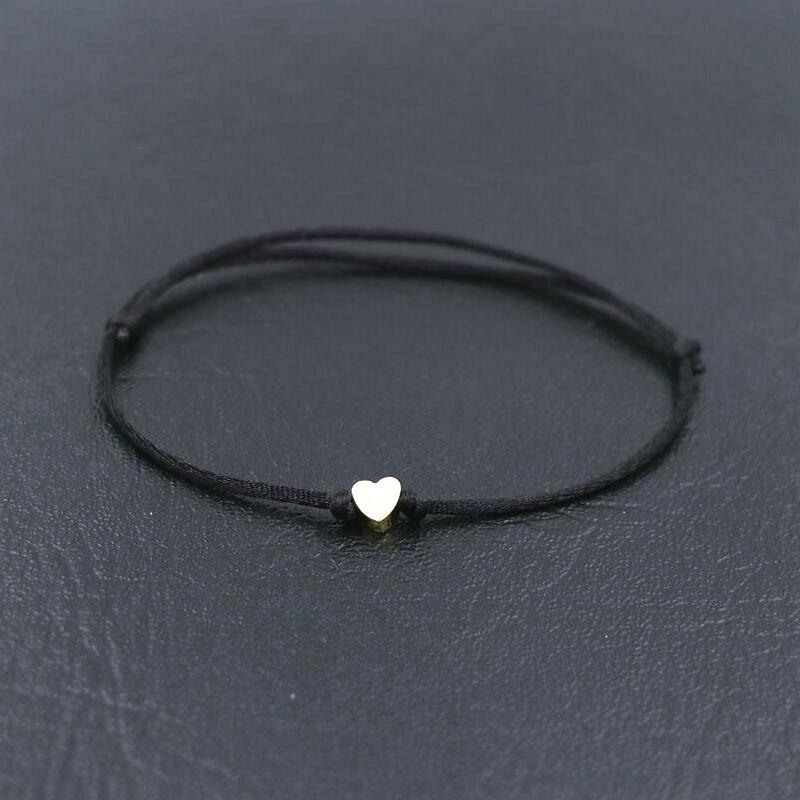 BPPCCR Handmade Stainless Steel Love Heart Shape Charm Bracelet Thin Red Rope Thread String Bracelets For Men Women Couples
