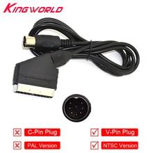 50pcs V-Pin Plug NTSC US Scart Cable Audio Video AV Cable for SEGA Mega Drive for Genesis 1