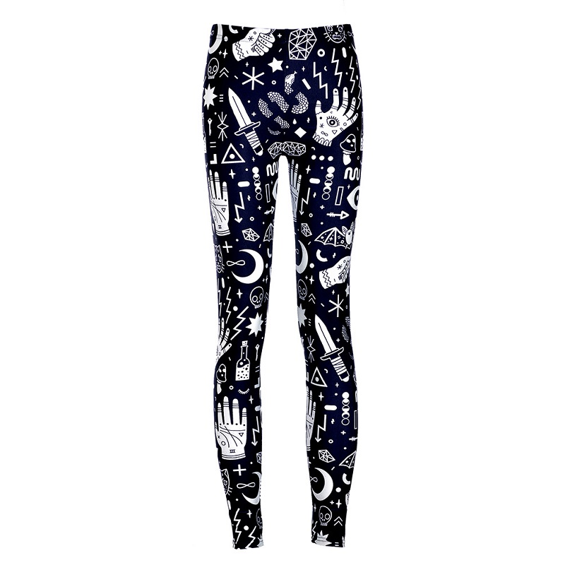 Women Printing Punk   Leggings   High Stretch Ankle Skinny Pants Ladies   Leggings   Female