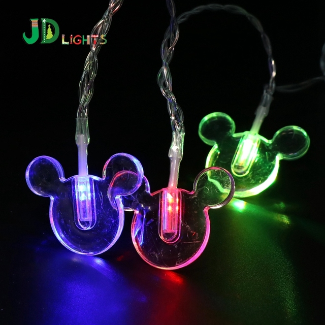 10 led string light mickey mouse fairy lights christmas garlands lighting neol decoration xmas battery powered - Mickey Mouse Christmas Lights