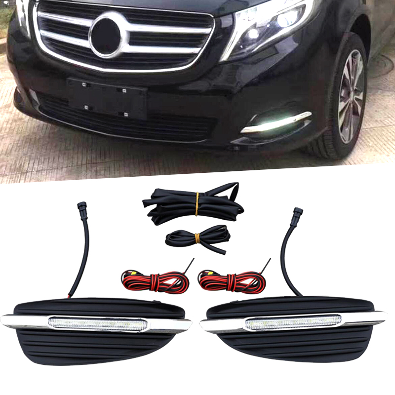 LED DRL Daylight Daytime Running Lights Front Fog Light Lamp For Mercedes Benz V-Class Vito V250 V260 2016 2017 2PCS 2pcs led fog lamp for benz w204 c class 11 13 car lights auto replacement daytime running lights fog lamp for mercedes for benz