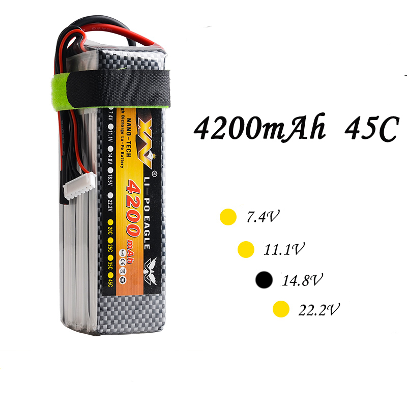 High Quality RC Battery 14.8V 4200mAh 45C Max 120C 14.8Volt RC LiPo Li-Poly Battery for Helicopters Quadcopter RC drone kit