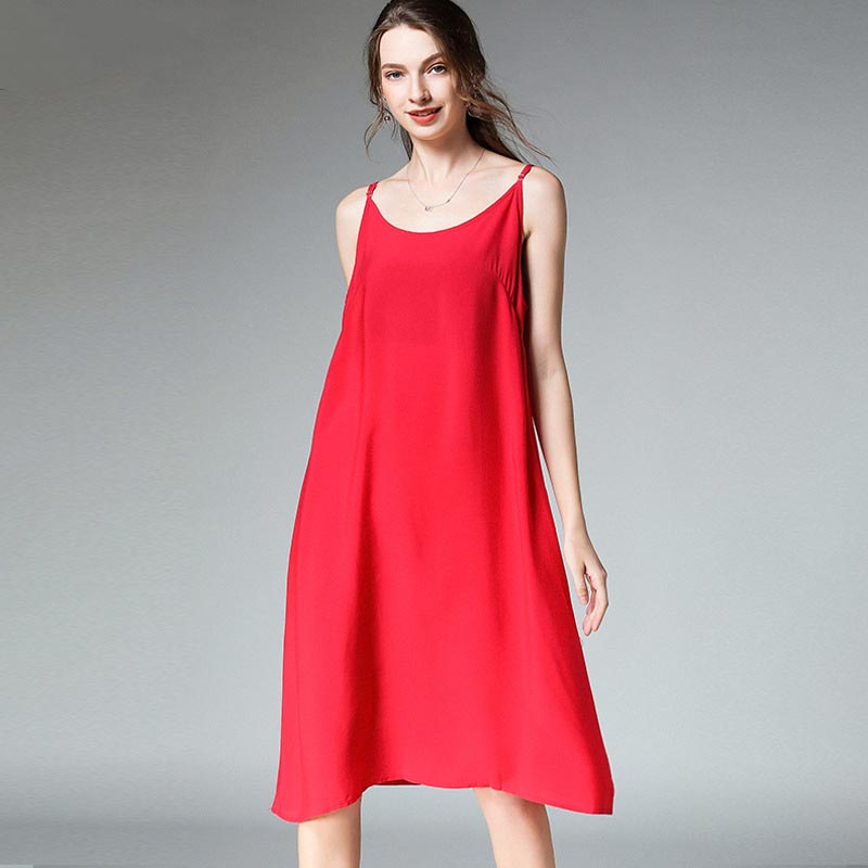 Women chiffon Print dress Big yards Loose Office Ladies Shir Sleevelesst Dress high quality Casual four seasons Solid Dresses in Dresses from Women 39 s Clothing