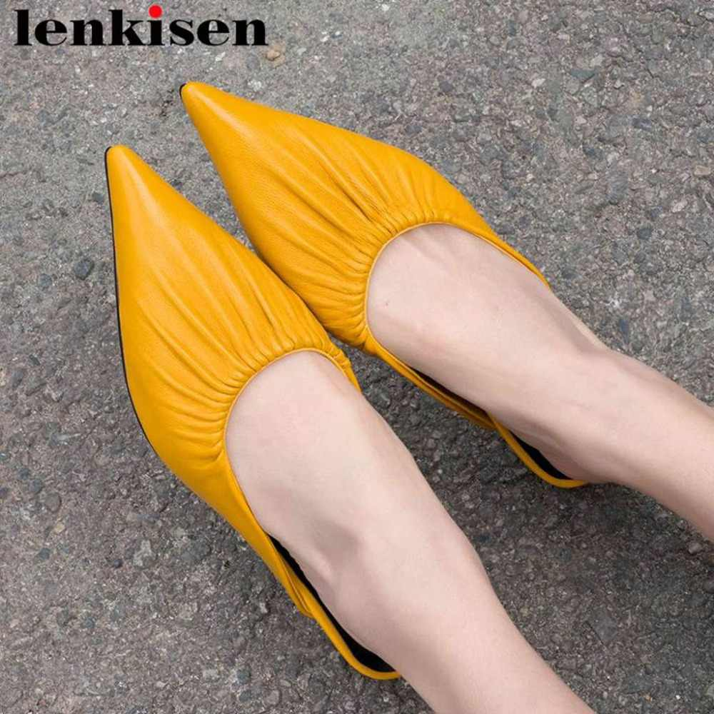 2019 Hollywood movie stars natural leather kitten med heels oxford pointed toe popular pleated design dress shopping pumps L18