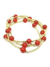Natural 14K Gold Red Coral Beads Bracelet Necklace Gemstone Jewelry