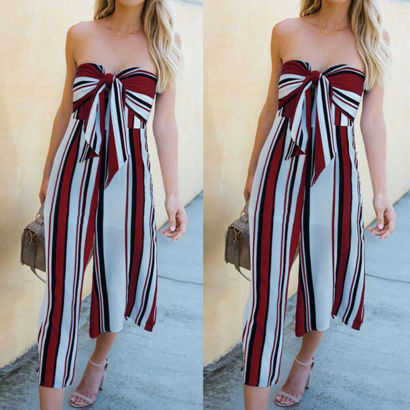 Sexy Women Clubwear Summer Playsuit Bodycon Party   Jumpsuit   Romper Trousers US Printed Summer Long Fashion Female