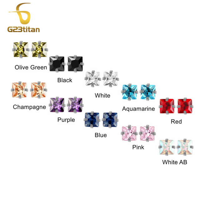 G23titan 2pc/lot 10 Colors Zircon Body Piercing Balls 16G Internally Threaded Screw for Lip Eyebrow Ear Piercing Jewelry 2