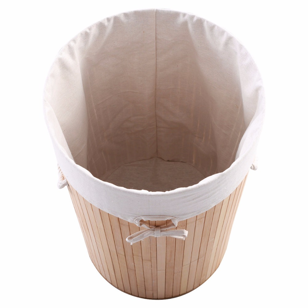 Goplus Round Bamboo Hamper Large Laundry Basket for Dirty Washing Clothes Organizer Storage Bag with Lid Bamboo Baskets HW51484