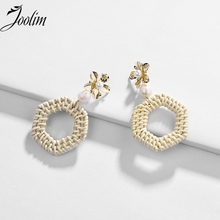 JOOLIM Natural Rattn Knit Braided Pearl Flower Earring Beach American