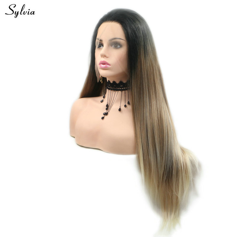 Sylvia Brown Straight Lace Front Wig Synthetic Hair Women Wigs Heat Resistant Fiber Black Roots Long