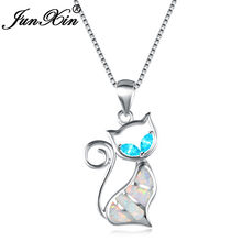JUNXIN Cute Cat Pendants 925 Sterling Silver Necklaces For Women Lake Blue Zircon White Fire Opal Birthstone Choker Jewelry(China)