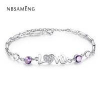 Nbsameng 925スターリングシルバーファインジュエリー紫水晶チャームビーズブレスレット女性ハート愛バレンタインデーギフト