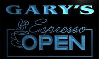 X0026 Tm Gary S Espresso Coffee OPEN Custom Personalized Name Neon Sign Wholesale Dropshipping