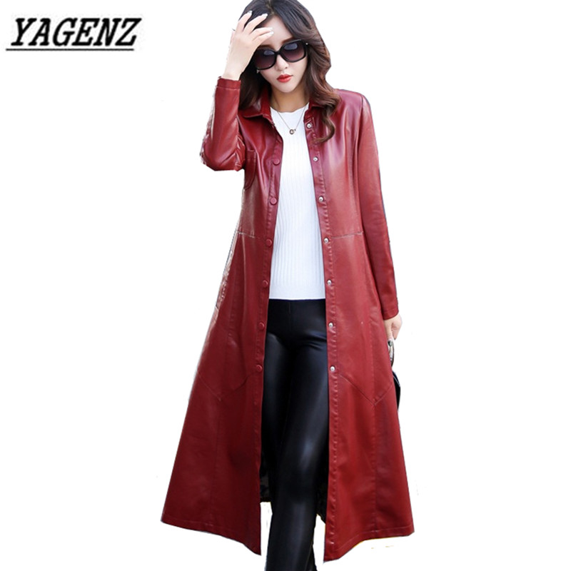 2017 Autumn/Winter New Women PU leather Jacket Windbreaker Coats Large size 5XL Slim Temperament Long Leather Overcoat Black Red