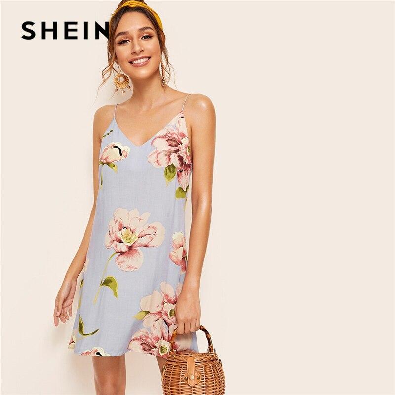 SHEIN Blue Floral Print Double V Neckline Cami Summer Dress Women Boho Dress Ladies Spaghetti Strap Straight Slip Short Dresses