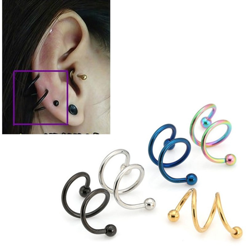 free shipping HOT design 2017 New Stainles steel spiral helix nasal cartilage ring multi-colored earring male bar rock ear