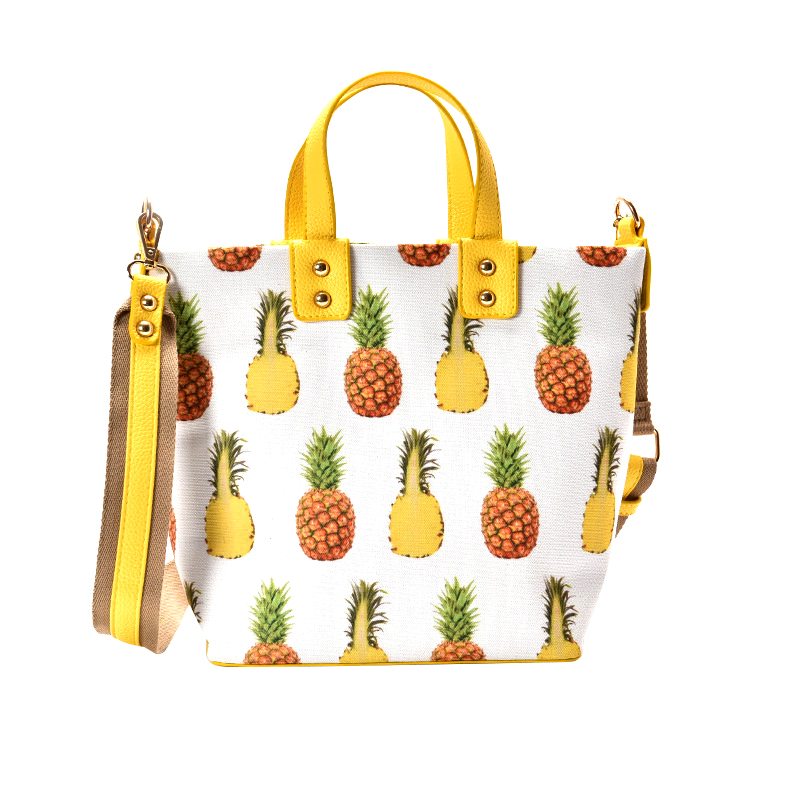 Women Handbags PU Leather Fashion New Designer Pineapple Prints Casual Totes Travel Crossbody Bag Shoulder Strap Bolsos Mujer