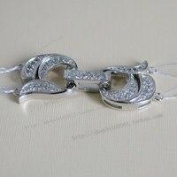 925 argent qualité double rangée collier de perles fermoir diamant zircon 2 bracelet collier fermoir