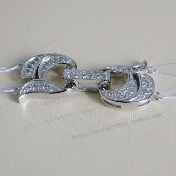 925 silver quality double row pearl font b necklace b font clasp font b diamond b