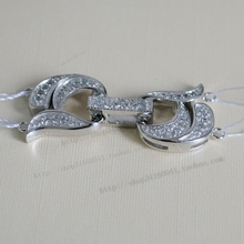 925 silver quality double row pearl necklace clasp diamond zircon 2 bracelet necklace clasp