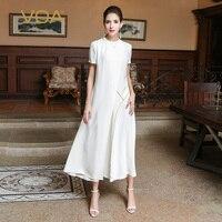 VOA 2017 Autumn Brief Plus Size Pure White Ladies Silk A Line Dresses Fashion Simple Solid Casual Women Maxi Dress ALX08301